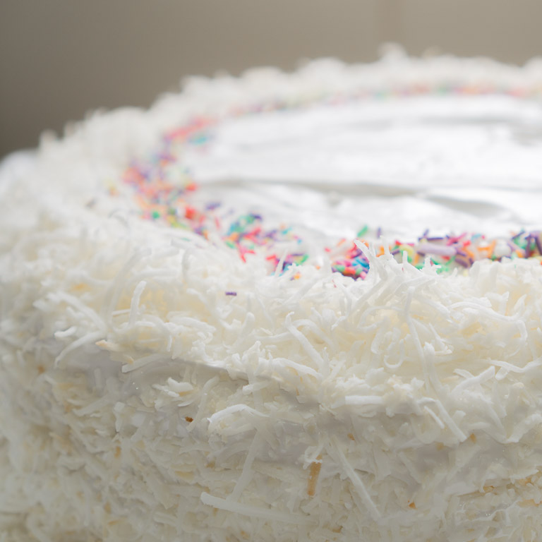 Coconut Vanilla Cake With Marshmallow Frosting