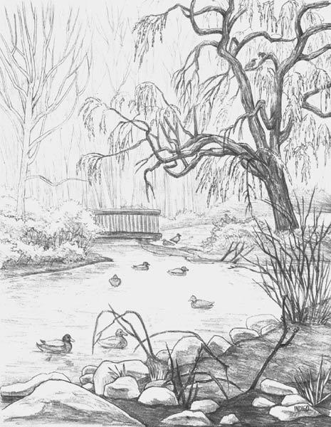 Line Drawing Waterfall : Sketsa gambar pemandangan
