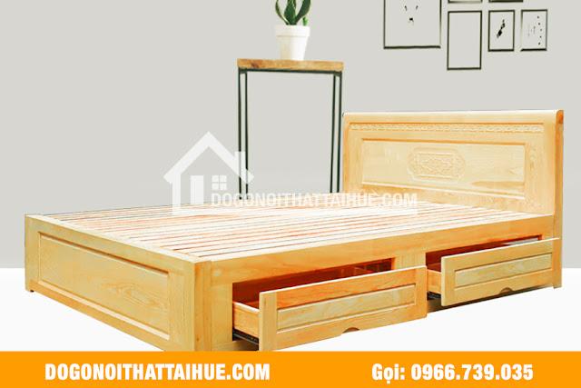 Mẫu giường ngủ có hộc ở Huế, Giường ngủ gỗ sồi tại Huế, giuong ngu go soi tai hue
