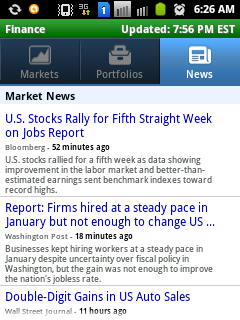 News tab of stock market watch Android Application