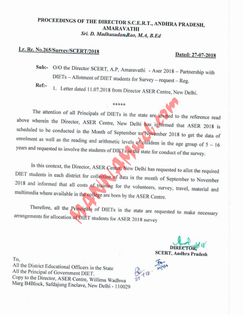 ASER Survay-2018- enrolment  as well  as the  reading  and arithmetic   levels  of children - Allotment of DIET students,Rc.265