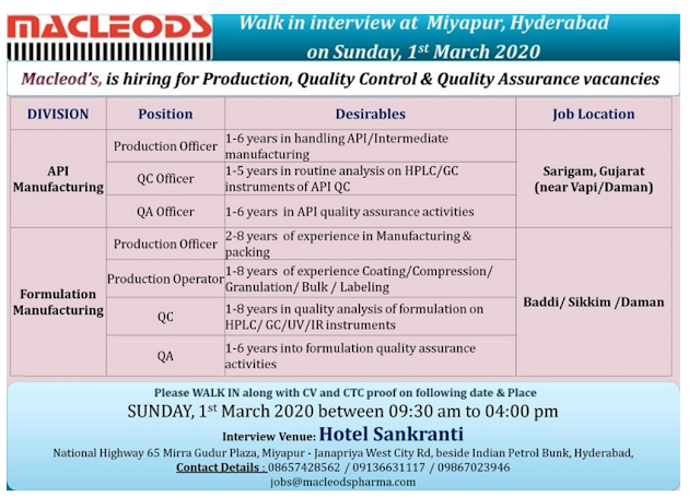 Macleods Pharma Walk in-Production/ QA/ QC On 1st March 2020 @ Hyderabad
