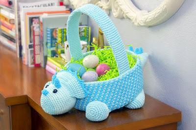Crochet dinosaur Easter basket