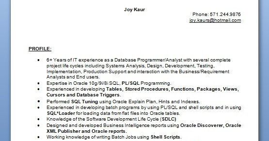 analyst database resume format in word free download