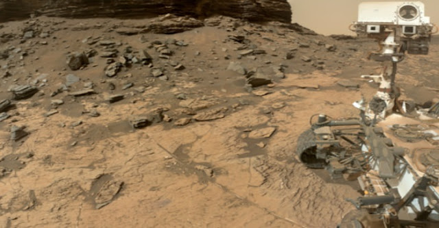 A selfie of the NASA Curiosity rover at the Murray Buttes in Gale Crater, Mars, a location where boron was found in light-toned calcium sulfate veins. CREDIT: NASA/JPL-Caltech/MSSS