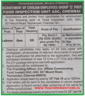 Applications are invited for Labour Post in Food Inspection Unit ASC Chennai