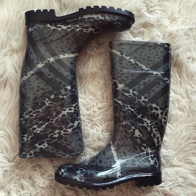 Burberry Splotched Check Rain Boots gray