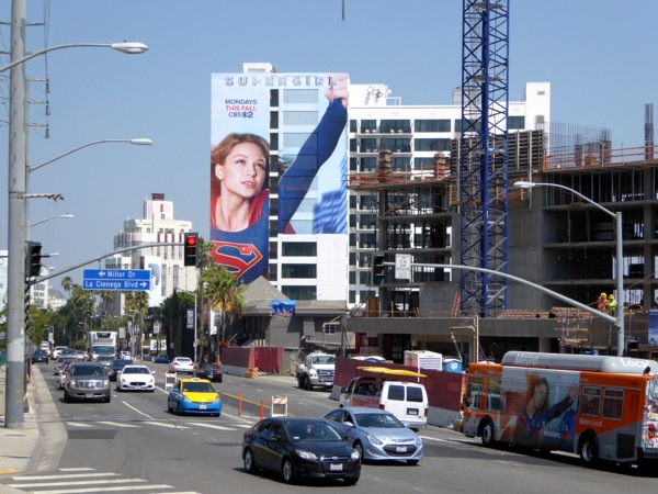 Giant Supergirl series premiere billboard Sunset Strip