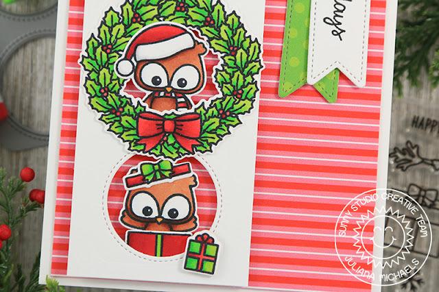 Sunny Studio Stamps: Happy Owlidays Window Trio Dies Fancy Frames Dies Peek-A-Boo Window Holiday Card by Juliana Michaels