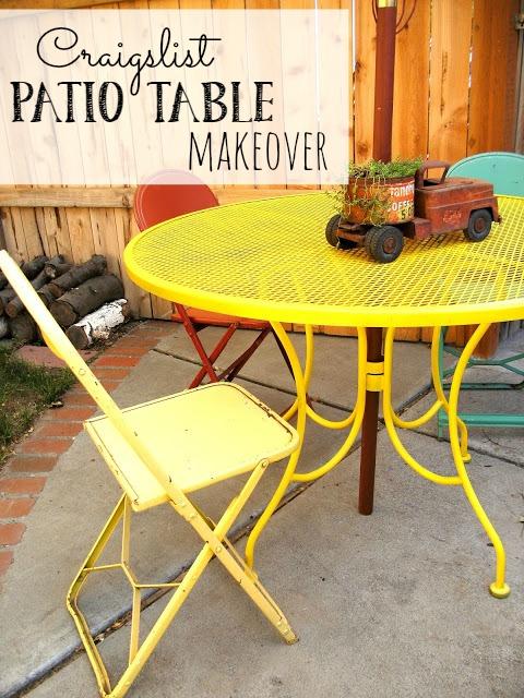 craigslist patio table makeover little vintage cottage. Black Bedroom Furniture Sets. Home Design Ideas