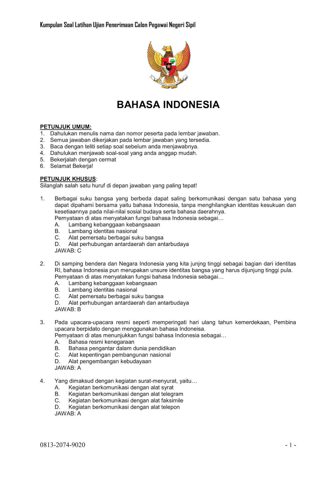Soal Cpns Indonesia Contoh Soal