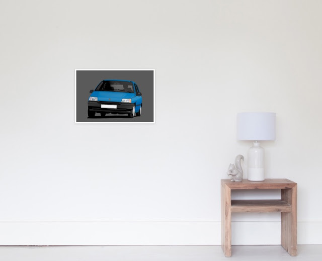 Redbubble Renault Clio illustration - prined poster