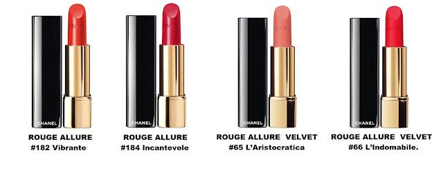 Chanel ROUGE ALLURE #182 Vibrante и # 184 Incantevole ROUGE ALLURE VELVET  #65 L'Aristocratica и # 66 L'Indomabile