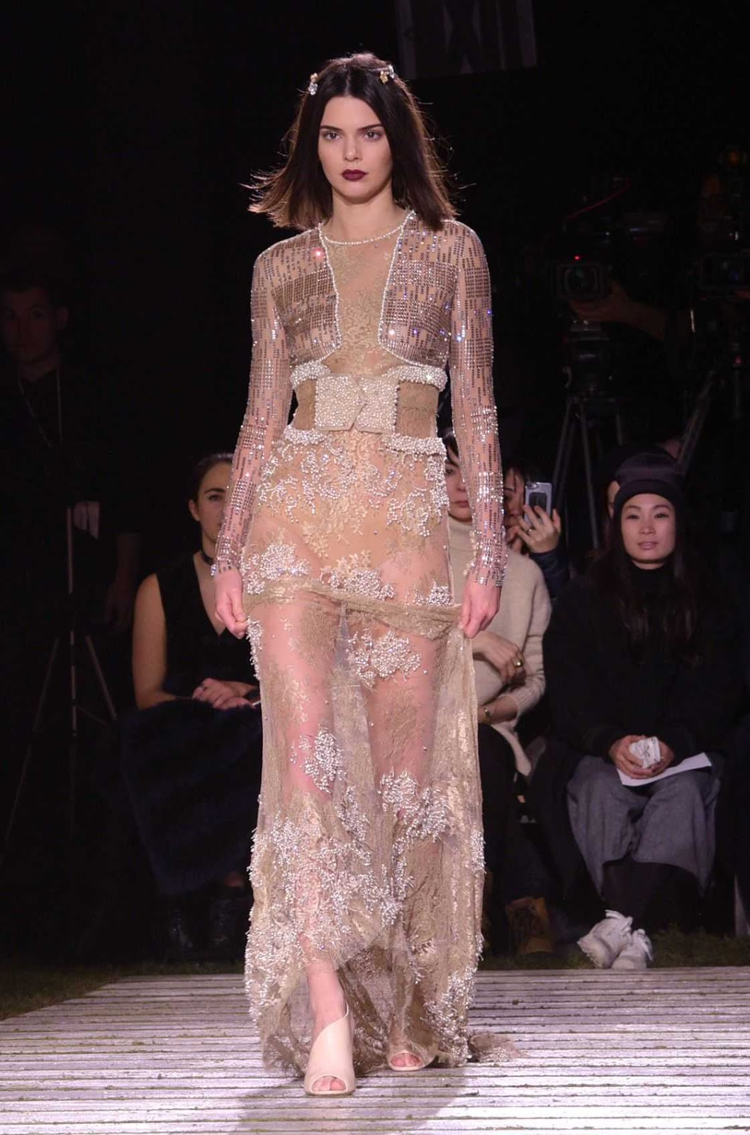 Kendall Jenner turns up the heat in see through gown at the La Perla NYFW Show