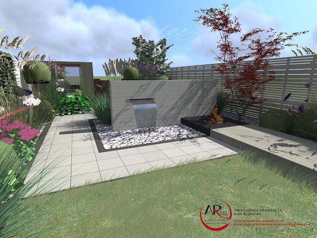 nowoczesny ogród przy szeregowcu