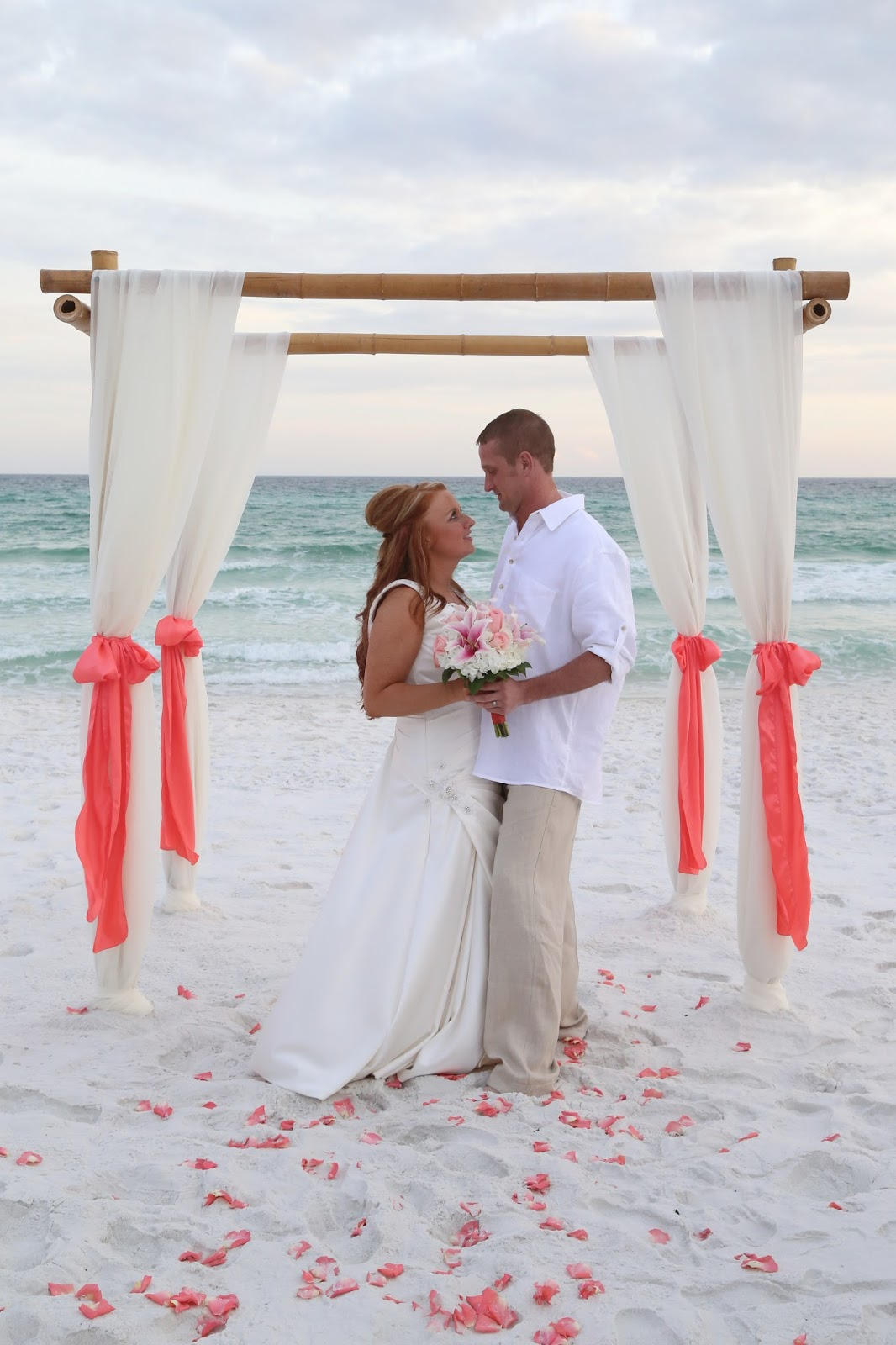 beach destin weddings coral sunshine decorations ivory packages florida destination company arbor chose nancy lucky package michael sashes