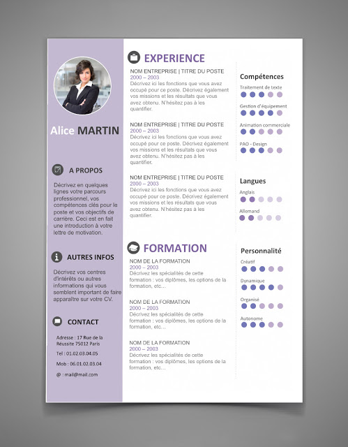 free resume template in english with photo and color
