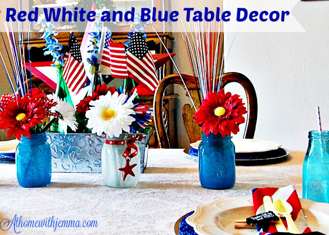 Decorating, galvanized container, polka dot daisies, faux flowers, easy Patriotic themed decor