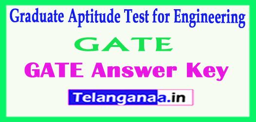 GATE 2018 Answer Key Graduate Aptitude Test for Engineering 2018 Answer Key