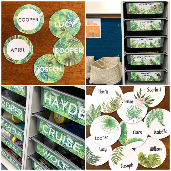 Editable Tropical Theme Classroom Labels | you clever monkey