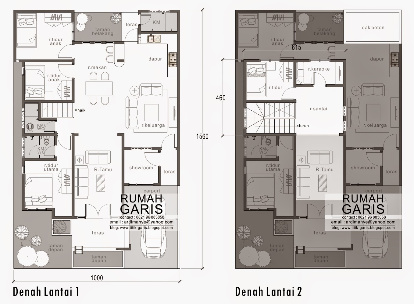 This three room house plan has a total floor area of 90 sq.m. which can be raised or worked in a 150 sq.m. parcel. With 10 meter facade, this one story design can advantageously ascend with fractional firewalls on the two sides.  The inside of the house is intended to be roomy by limiting gigantic dividers openly and semipublic zones. What's more, with the option of wide window openings that can without much of a stretch pass view to the back garden positively include all the more unreservedly amid the occasion or festivity in your residence HOUSE PLAN DESIGN ON 10X15 METER LOT Building area: 90 m2   Land Size: 10 x 15 meters   The main sleeping area (size 3mx5m) plus bathroom  Bedroom, 2 pieces (size 3mx3m)  Living room   Family room together with dining room and kitchen  Km / toilet  Shower/sink  Backyard garden and patio area of 9 m2  2-STOREY RESIDENTIAL HOUSE PLAN This house is made extraordinary in light of the fact that it is intended for 2 stories yet when seen from the front looks like only a house 1 story.   Land Area: 10 x 15.6 meters   Building Area: Lt.1 = 112 m2 and Lt.2 = 28  1st floor Master bedroom  2 bedrooms  Living room  Family room  Minibar & kitchen  Km / WC  Bathroom/laundry room  Garden and back porch  Showroom  2nd Floor Bedroom  Karaoke room  The lounge This home plan is made as agreeable as conceivable by increasing openings to amplify air and light that go into each room and keep the room has a view to the front garden and back of the house.  Land Area: 8 x 19 meters   Building Area: 210 m2  Master bedroom plus km / WC  Child's bedroom  Guest room  Living room  Family room  Kitchen   The dining room  Km / WC  Laundry area and drying area  Garden/back porch and side of house carport  SOURCE: Rumah Garis  RELATED POSTS: