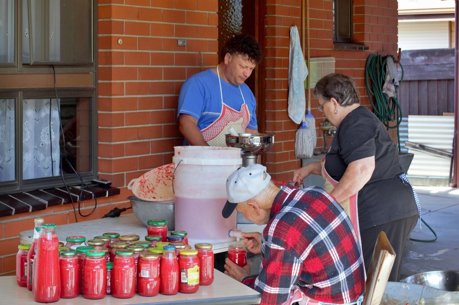 Giuseppe Torcasio making tomato sauce