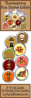 Decorate your Thanksgiving Table with these cute printable Kiss labels.  With pilgrims, Indians, and cute Turkeys your guests will love eating these sweet treats, especially if added to our Thanksgiving Turkey place cards.