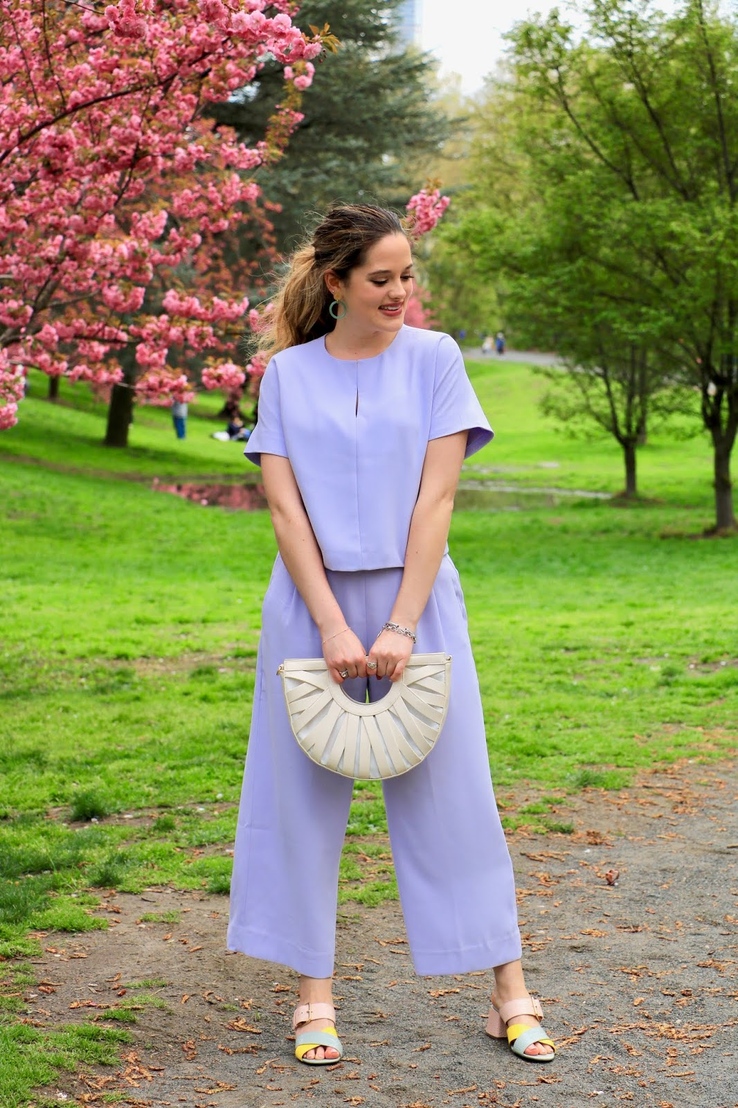 Nyc fashion blogger Kathleen Harper wearing a lavender pastel outfit