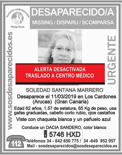 La mujer de Arucas desaparecida el pasado lunes, Soledad Santana Marrero, localizada  y trasladada a Centro Médico