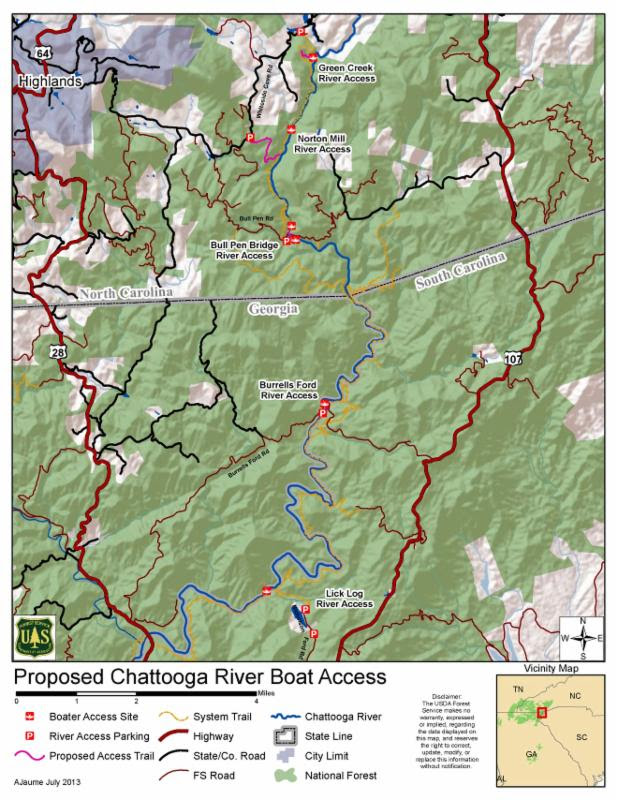 Access Points for the Upper Chattooga Wild and Scenic River
