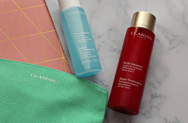 Clarins beauty essence and instant eye makeup remover