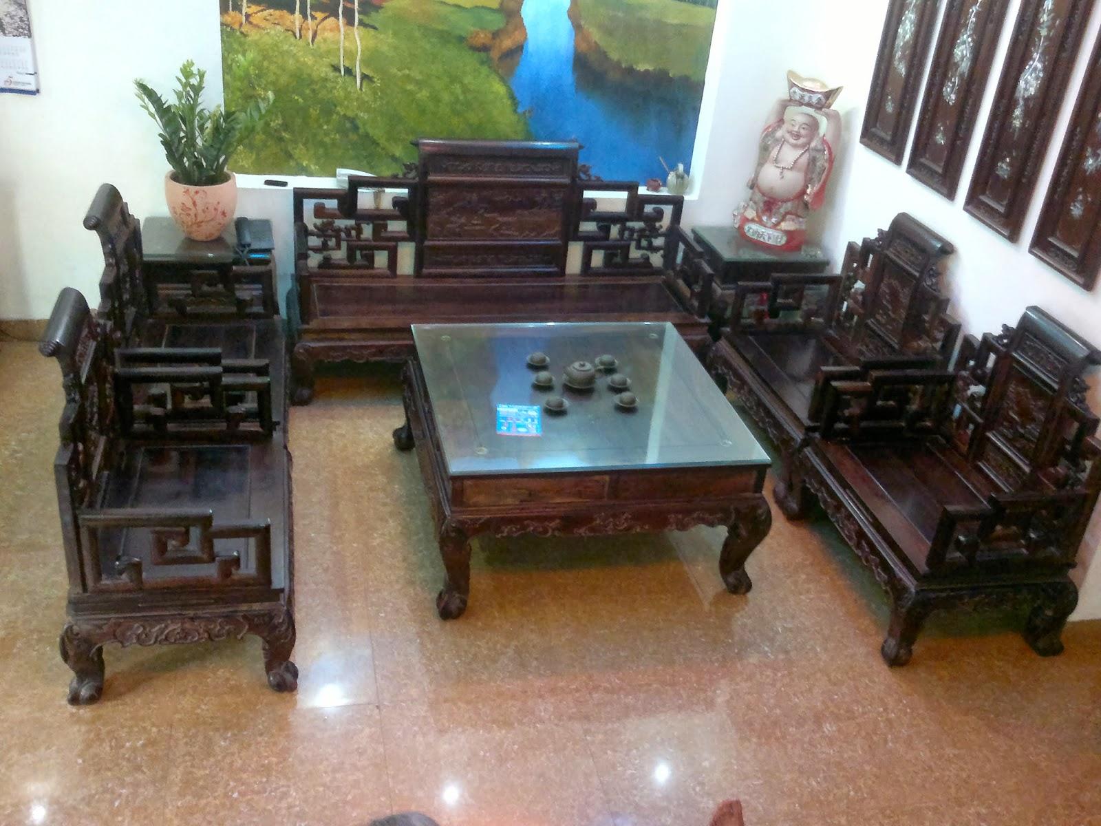 Bộ bàn ghế trắc 8 món