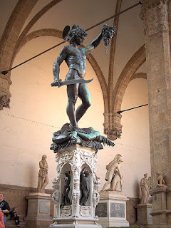 Cellini's bronze of Perseus and the Head of Medusa in Piazza della Signoria in Florence