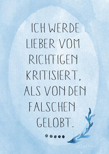 Kritik und Lob, lettering card
