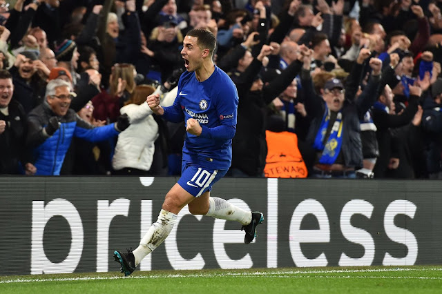 Eden Hazard celebrates equalizer during Chelsea vs Atletico Madrid