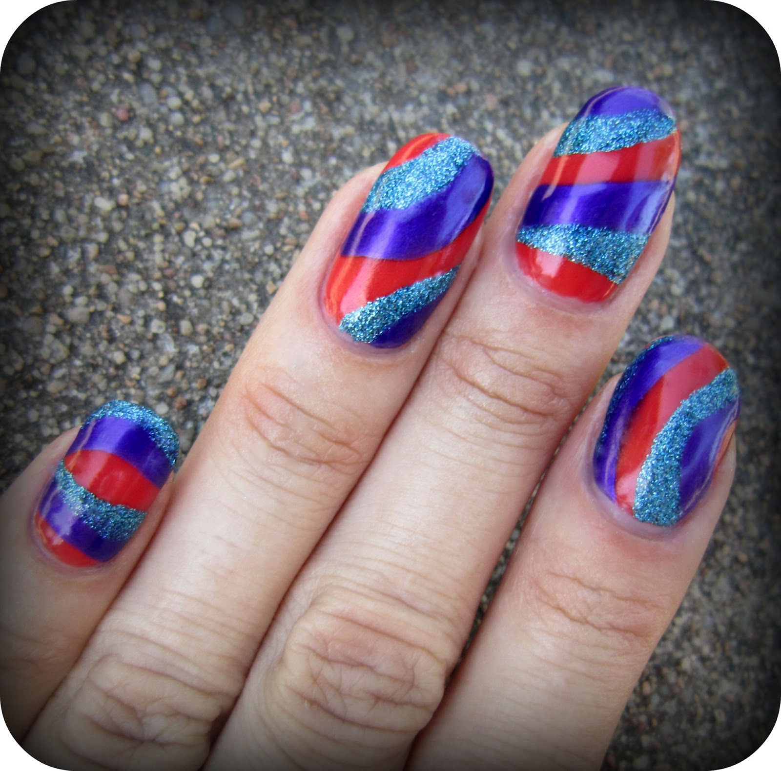 Concrete And Nail Polish: Striped Nail Art