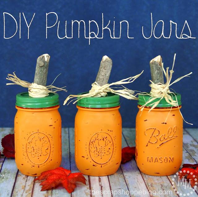DIY Pumpkin Jars, by The Scrap Shoppe Blog