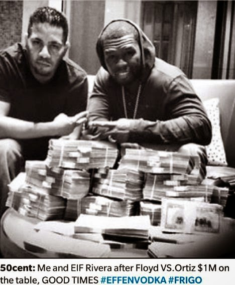 50cent won $2.3million bet placed on Floyd Mayweather vs Manny Pacqiao fight