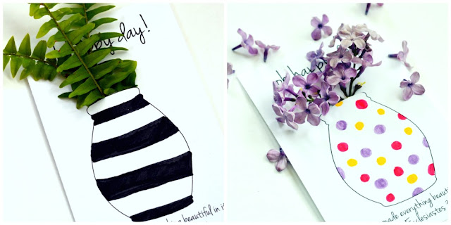 free printable coloring flower vase for Mother's day or May day