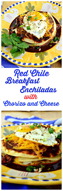 The best red chile makes the best breakfast enchiladas. And this is red chile meant for putting on everything. Made from chile powder this one is a keeper and it tastes great on these stacked enchiladas! #redchile #breakfast #enchiladas www.thisishowicook.com