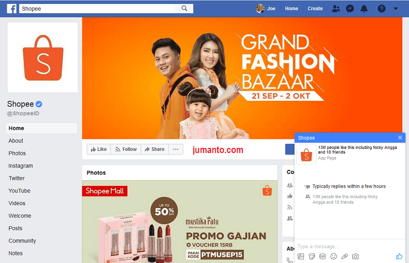 Cara Menghubungi Customer Service Shopee Indonesia Via Facebook
