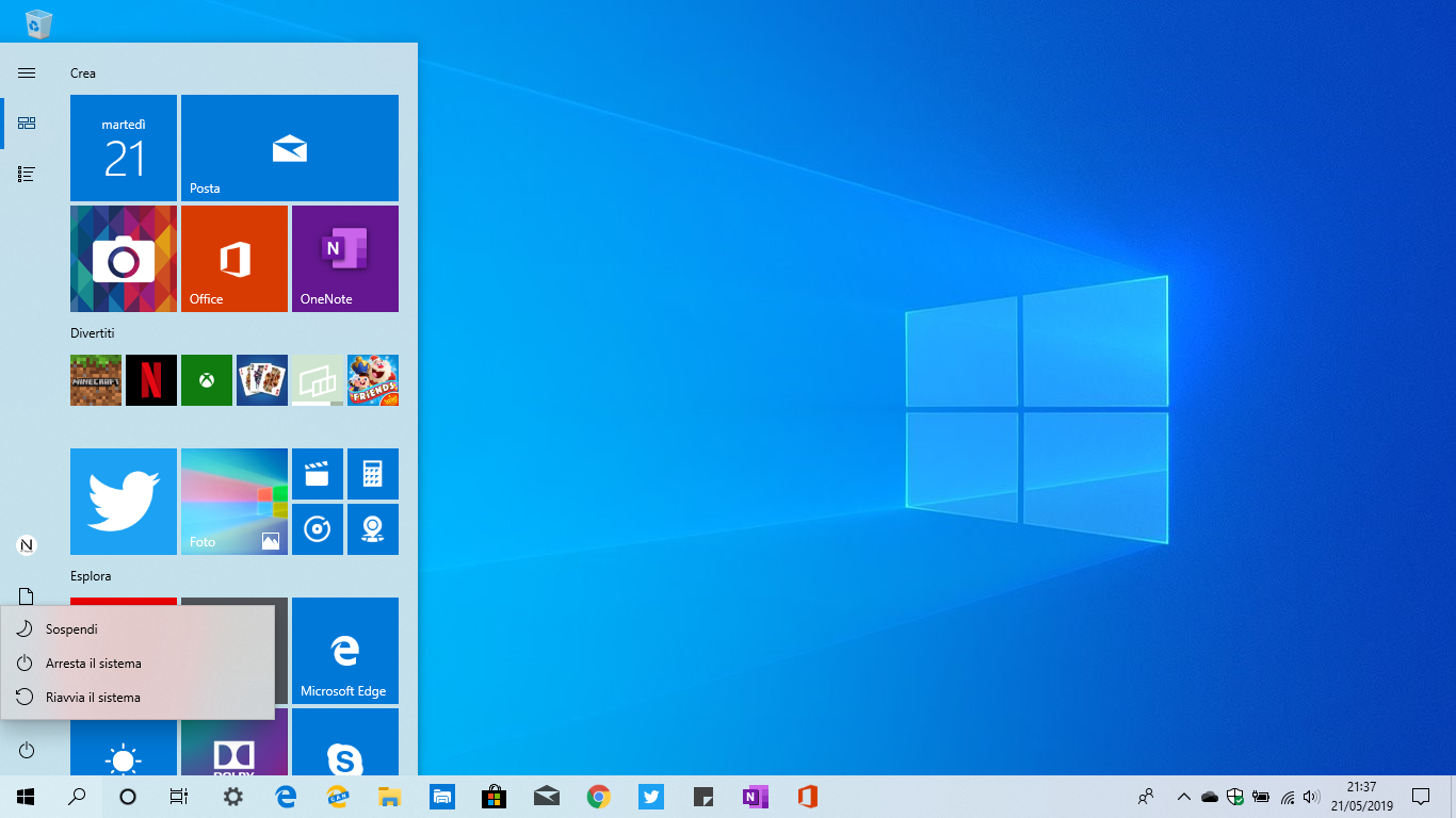 menu-spegnimento-windows-10-1903-may-2019-update