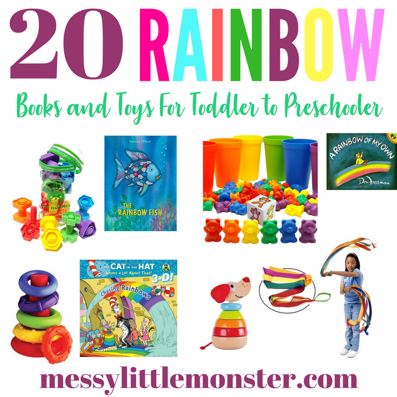 Rainbow themed toys and books for toddler and preschoolers. Kids will love these must have rainbow items.