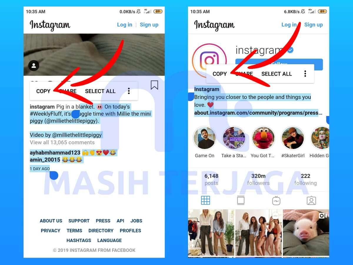 Cara Copy Teks Caption Komentar Dan Bio Instagram Tanpa
