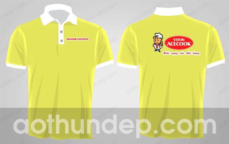 Áo thun đồng phục vifon acecook màu vàng