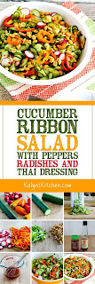Cucumber Ribbon Salad with Peppers, Radishes, and Thai Dressing found on KalynsKitchen.com