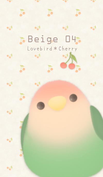 桃面愛情鳥和櫻桃/米色 04