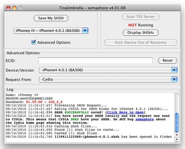 Download TinyUmbrella, iPhone Restore