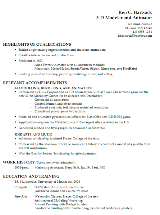 animation resume example