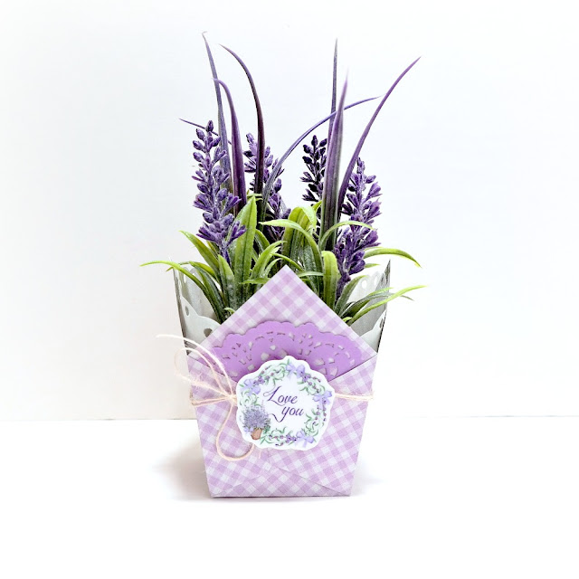 Lavender Breeze Potted Plant Favor Box by Dana Tatar for FabScraps